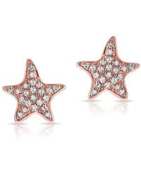 Anne Sisteron - 14kt Rose Gold Diamond Starfish Stud Earrings - Lyst