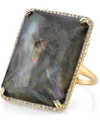 Anne Sisteron - 14kt Yellow Gold Black Mother Of Pearl Rectangle Diamond Cocktail Ring - Lyst