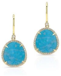 Anne Sisteron - 14kt Yellow Gold Blue Apatite Diamond Mini Organic Earrings - Lyst