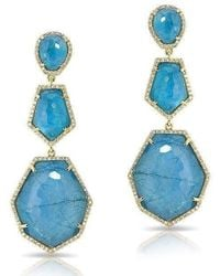 Anne Sisteron - 14kt Yellow Gold Blue Apatite Diamond Triple Drop Earrings - Lyst