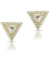 Anne Sisteron - 14kt Yellow Gold White Topaz Triangle Diamond Stud Earrings - Lyst