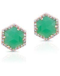 Anne Sisteron - 14kt Rose Gold Chrysoprase Diamond Hexagon Stud Earrings - Lyst