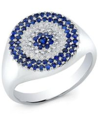 Anne Sisteron - 14kt White Gold Diamond And Sapphire Disc Ring - Lyst
