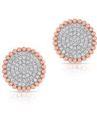 Anne Sisteron - 14kt Rose Gold Diamond Large Scalloped Disc Stud Earrings - Lyst