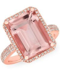 Anne Sisteron - 14kt Rose Gold Diamond Morganite Rectangle Ring - Lyst
