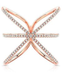 Anne Sisteron - 14kt Rose Gold Diamond Starburst Ring - Lyst