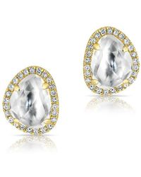 Anne Sisteron - 14kt Yellow Gold Mini Organic Topaz Diamond Stud Earrings - Lyst