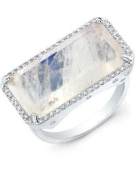 Anne Sisteron - 14kt White Gold Diamond Base Moonstone Ring - Lyst