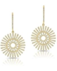 Anne Sisteron - 14kt Yellow Gold Diamond Sun Rays Wireback Earrings - Lyst