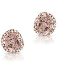 Anne Sisteron - 14kt Rose Gold Diamond Slice Stud Earrings - Lyst