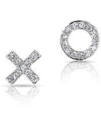 Anne Sisteron - 14kt White Gold Diamond Mini Xo Stud Earrings - Lyst