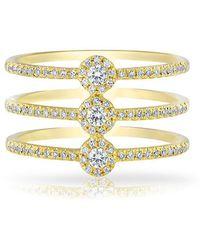 Anne Sisteron | 14kt Yellow Gold Diamond Triple Circuit Ring | Lyst
