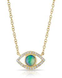 Anne Sisteron - 14kt Yellow Gold Diamond Open Opal Evil Eye Sukie Necklace - Lyst