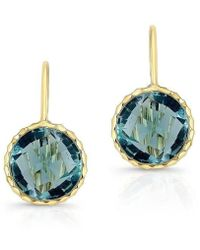Anne Sisteron - 14kt Yellow Gold Small Blue Topaz Earrings - Lyst