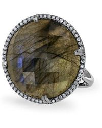 Anne Sisteron - 14kt Oxidized White Gold Labradorite Diamond Round Cocktail Ring - Lyst