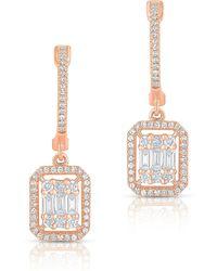 Anne Sisteron - 14kt Rose Gold Baguette Diamond Rectangle Ryleigh Drop Earrings - Lyst