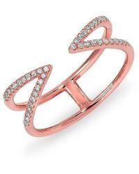 Anne Sisteron - 14kt Rose Gold Diamond Open Spike Ring - Lyst