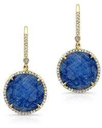 Anne Sisteron - 14kt Yellow Gold Blue Sapphire Diamond Round Earrings - Lyst