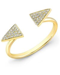 Anne Sisteron - 14kt Yellow Gold Diamond Double Triangle Ring - Lyst