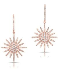 Anne Sisteron - 14kt Rose Gold Diamond Aurora Sun Earrings - Lyst