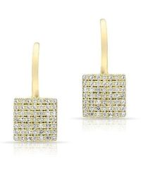 Anne Sisteron - 14kt Rose Gold Diamond Square Wireback Earrings - Lyst