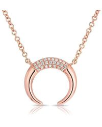 Anne Sisteron - 14kt Rose Gold Diamond Mini Taureau Necklace - Lyst