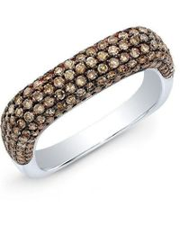 Anne Sisteron - 14kt White Gold Champagne Diamond Square Ring - Lyst