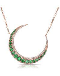 Anne Sisteron - 14kt Rose Gold Emerald Lunar Diamond Necklace - Lyst