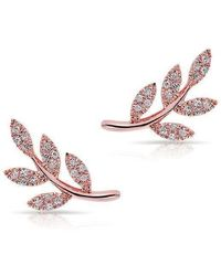 Anne Sisteron - 14kt Rose Gold Diamond Leaf Stud Earrings - Lyst