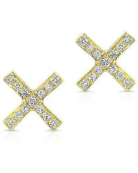 Anne Sisteron - 14kt Yellow Gold Diamond X Stud Earrings - Lyst