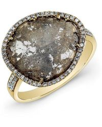 Anne Sisteron - 14kt Yellow Gold Diamond Slice Ring - Lyst