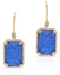 Anne Sisteron - 14kt Yellow Gold Blue Sapphire Diamond Rectangle Drop Earrings - Lyst