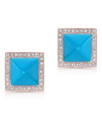 Anne Sisteron - 14kt Rose Gold Turquoise Diamond Pyramid Large Stud Earrings - Lyst