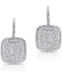 Anne Sisteron - 14kt White Gold Diamond Cushion Earrings - Lyst