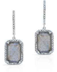 Anne Sisteron | 14kt White Gold Rectangle Labradorite Diamond Chic Earrings | Lyst