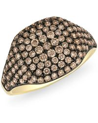 Anne Sisteron - 14kt Yellow Gold Champagne Diamond Cushion Pinkie Ring - Lyst