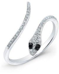 Anne Sisteron - 14kt White Gold Diamond Slytherin Ring With Black Diamond Eyes - Lyst