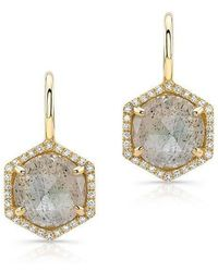 Anne Sisteron - 14kt Yellow Gold Labradorite Diamond Hexagon Dangle Earrings - Lyst
