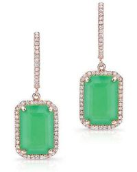 Anne Sisteron - 14kt Rose Gold Rectangle Chrysoprase Diamond Earrings - Lyst