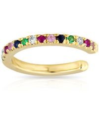 Anne Sisteron - 14kt Yellow Gold Rainbow Diamond Ear Cuff - Lyst