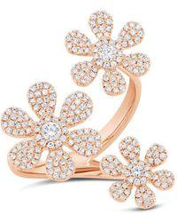 Anne Sisteron - 14kt Rose Gold Diamond Floating Triple Daisy Flower Ring - Lyst