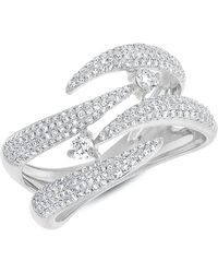 Anne Sisteron - 14kt White Gold Diamond Small Flame Tip Ring - Lyst