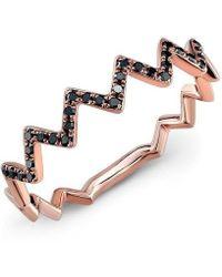 Anne Sisteron - 14kt Rose Gold Black Diamond Zig Zag Stacking Ring - Lyst