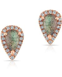 Anne Sisteron - 14kt Rose Gold Diamond Labradorite Pear Stud Earrings - Lyst