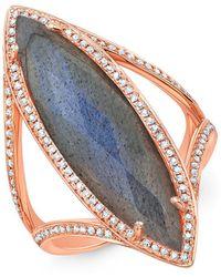 Anne Sisteron | 14kt Rose Gold Diamond Labradorite Alexis Ring | Lyst