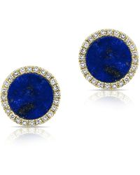 Anne Sisteron - 14kt Yellow Gold Lapis Diamond Disc Stud Earrings - Lyst