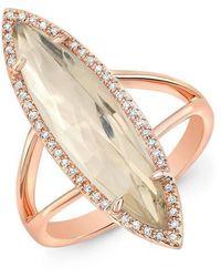 Anne Sisteron - 14kt Rose Gold Diamond Topaz Small Serena Ring - Lyst