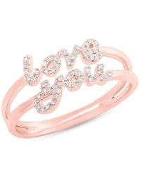 Anne Sisteron - 14kt Rose Gold Diamond Love You Ring - Lyst