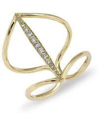 Anne Sisteron - 14kt Yellow Gold Petal Diamond H Ring - Lyst