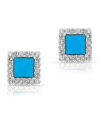 Anne Sisteron - 14kt White Gold Turquoise Diamond Square Stud Earrings - Lyst